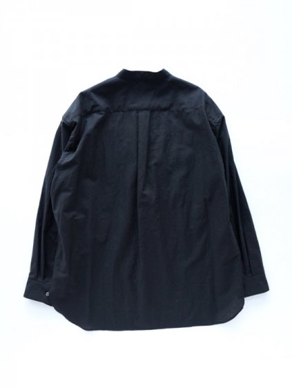 WIRROW  COTTON LINEN STAND COLLAR SHIRT  (BLACK)4