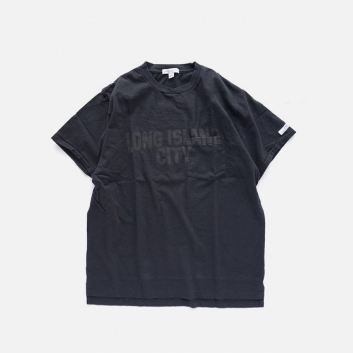 Engineered Garments Printed Cross Crew Neck T-shirt - LONG ISLAND CITY  (NAVY)