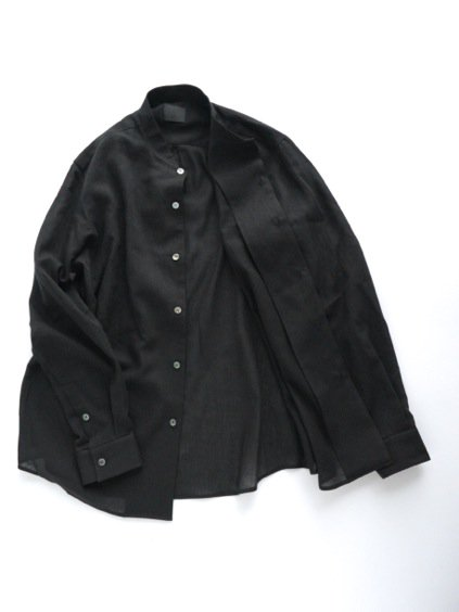 山内 FRENCH CTN STAND COLLAR SHIRTS (black)3