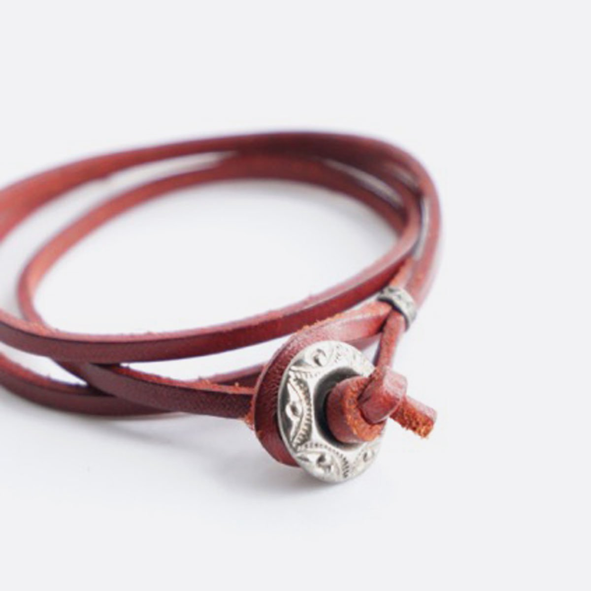 3連LEATHER BRACELET (D.RED)3