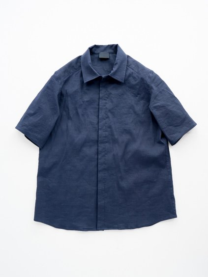 山内 別注DEAD STOCK STRETCH LINEN SHIRT (navy)