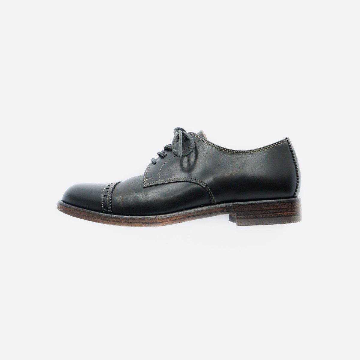 LEATHER&SILVER MOTO CAP TOE OXFORD SHOES #1625(BLACK)