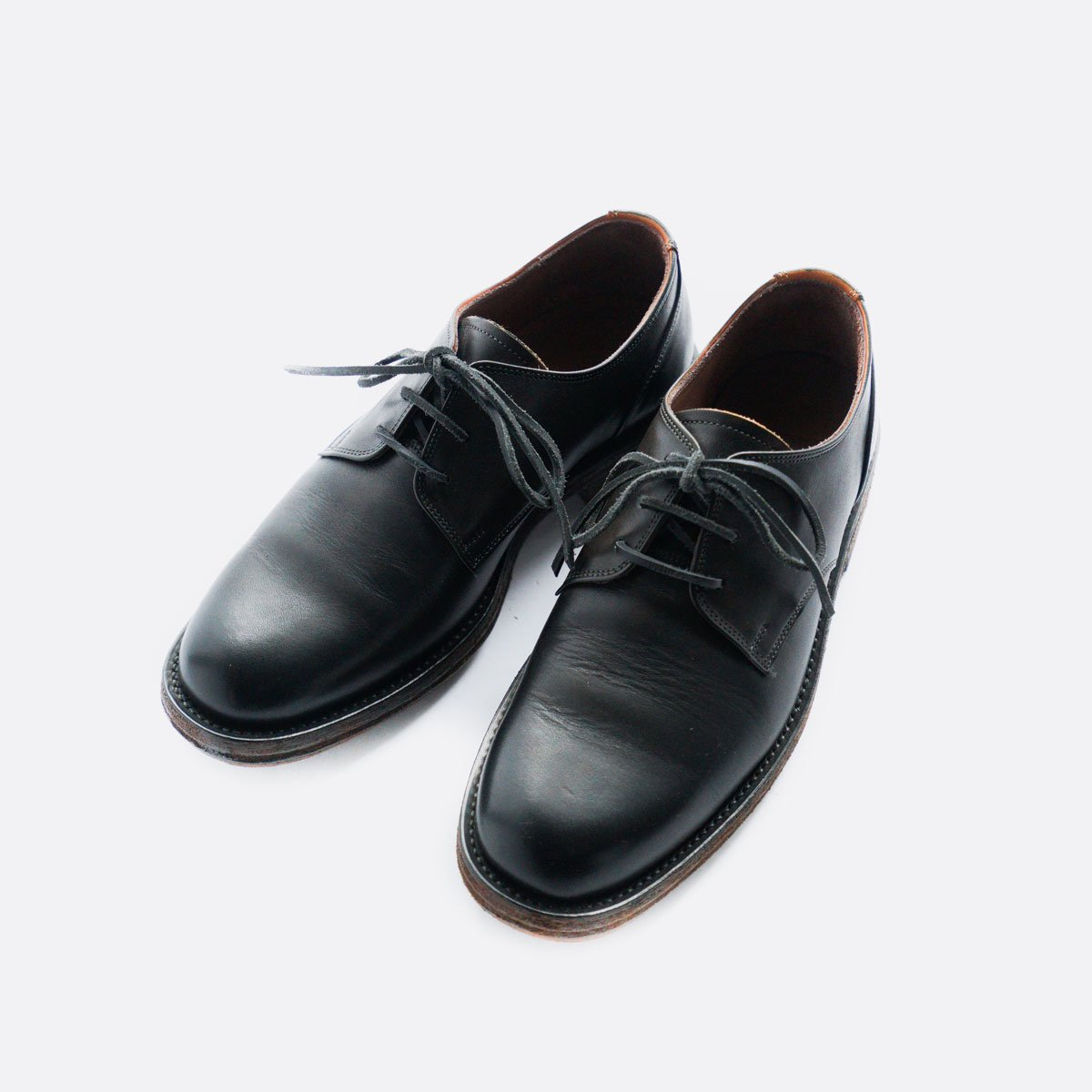 LEATHER&SILVER MOTO PLANE TOE OXFORD SHOES #1632(BLACK)2