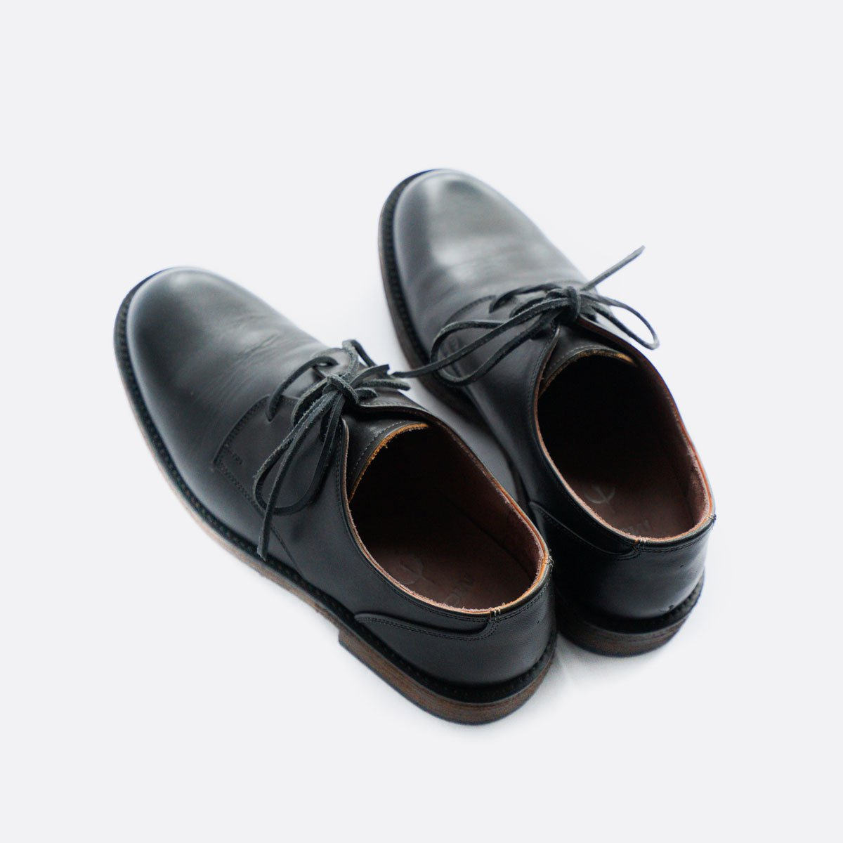 LEATHER&SILVER MOTO PLANE TOE OXFORD SHOES #1632(BLACK)4