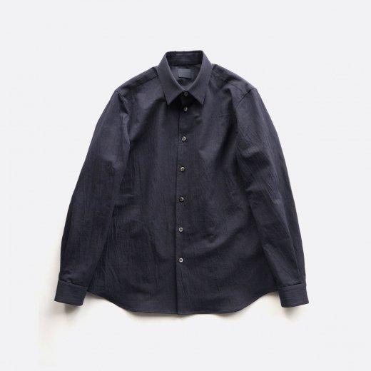 有松塩縮加工リネンシャツ 羽襟付き