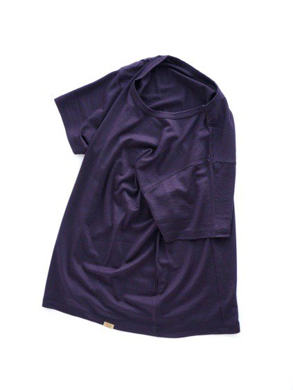 COLINA Super120s Washable Wool Tee  (Purple)3