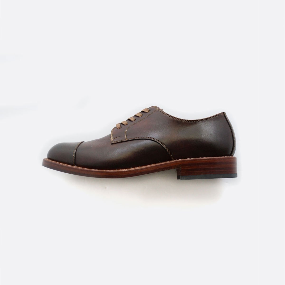 LEATHER&SILVER MOTO STRAIGHT TIP OXFORD SHOES #2900 (BROWN)