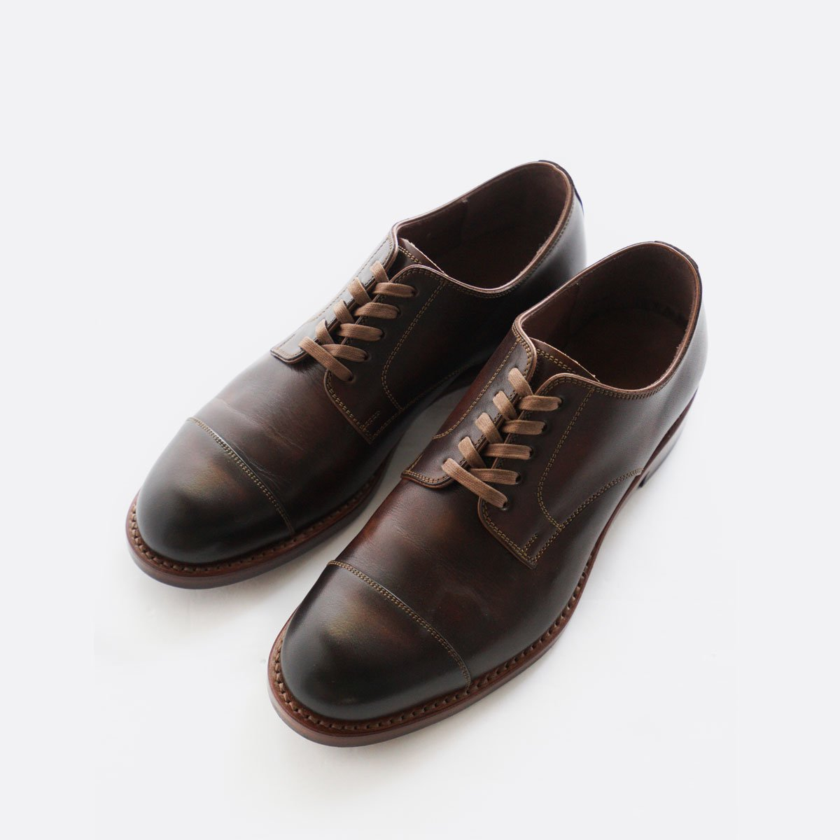 LEATHER&SILVER MOTO STRAIGHT TIP OXFORD SHOES #2900 (BROWN)3