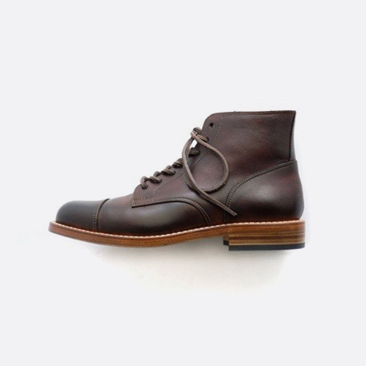MOTO STRAIGHT TIP Lace-up BOOTS #1500 (BROWN)