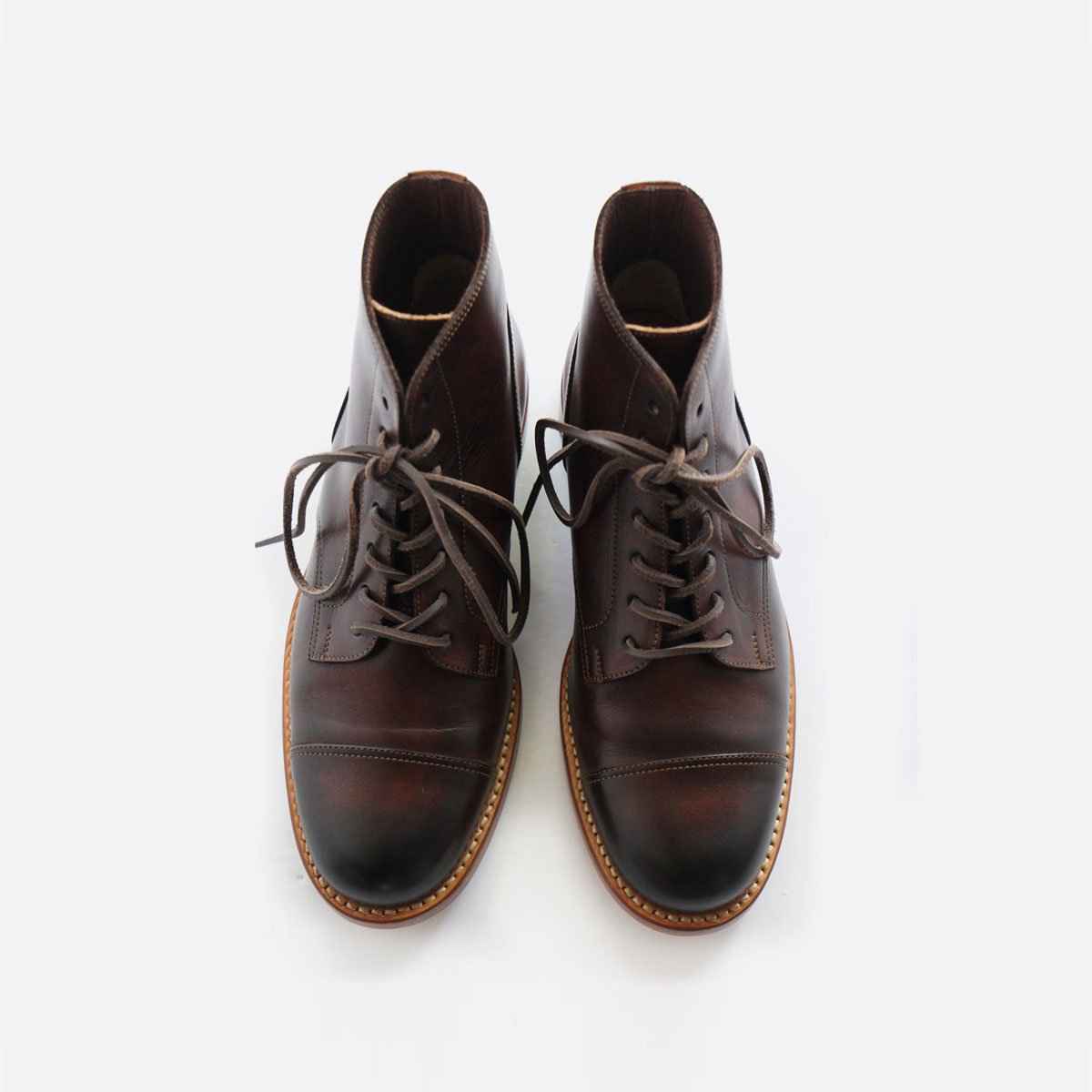 MOTO STRAIGHT TIP Lace-up BOOTS #1500 (BROWN)2