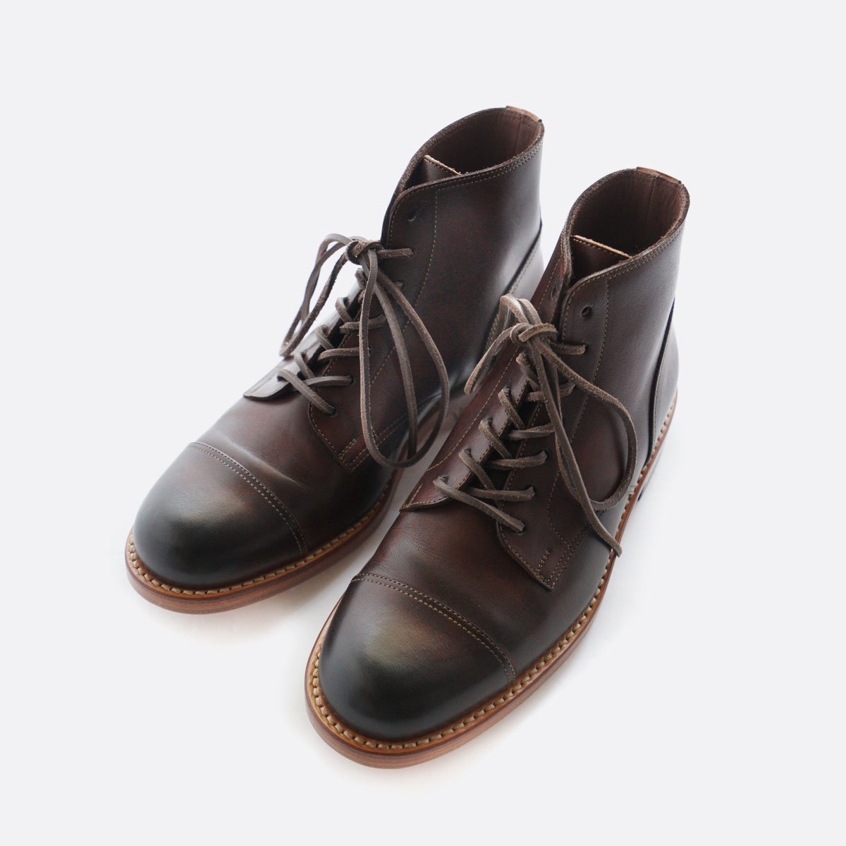MOTO STRAIGHT TIP Lace-up BOOTS #1500 (BROWN)3