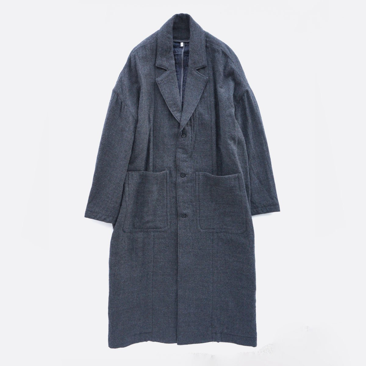 FIRMUM WORSTED WOOL & COTTON DOBBY DOUBLE CLOTH COAT (GREY&BLACK)