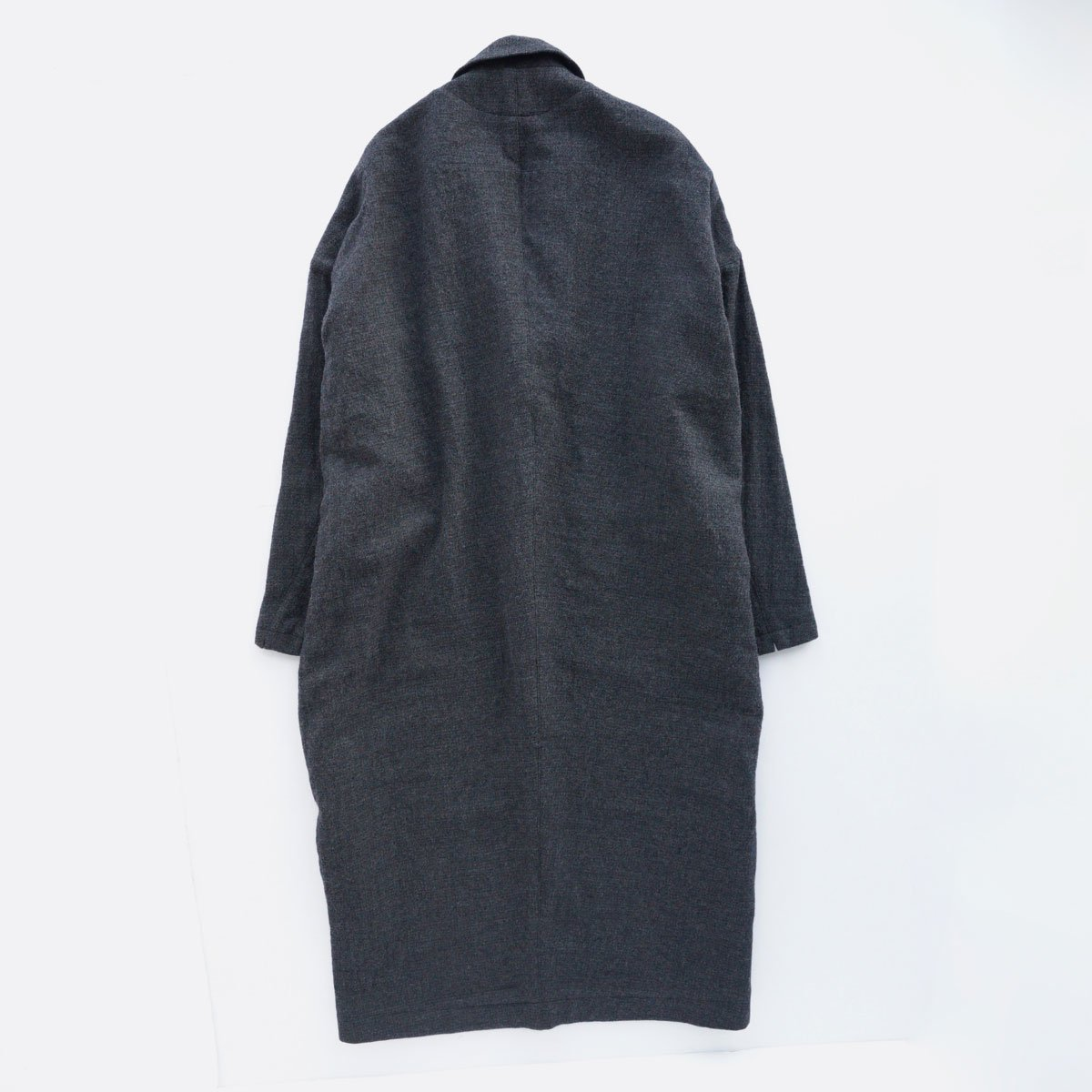 FIRMUM WORSTED WOOL & COTTON DOBBY DOUBLE CLOTH COAT (GREY&BLACK)2