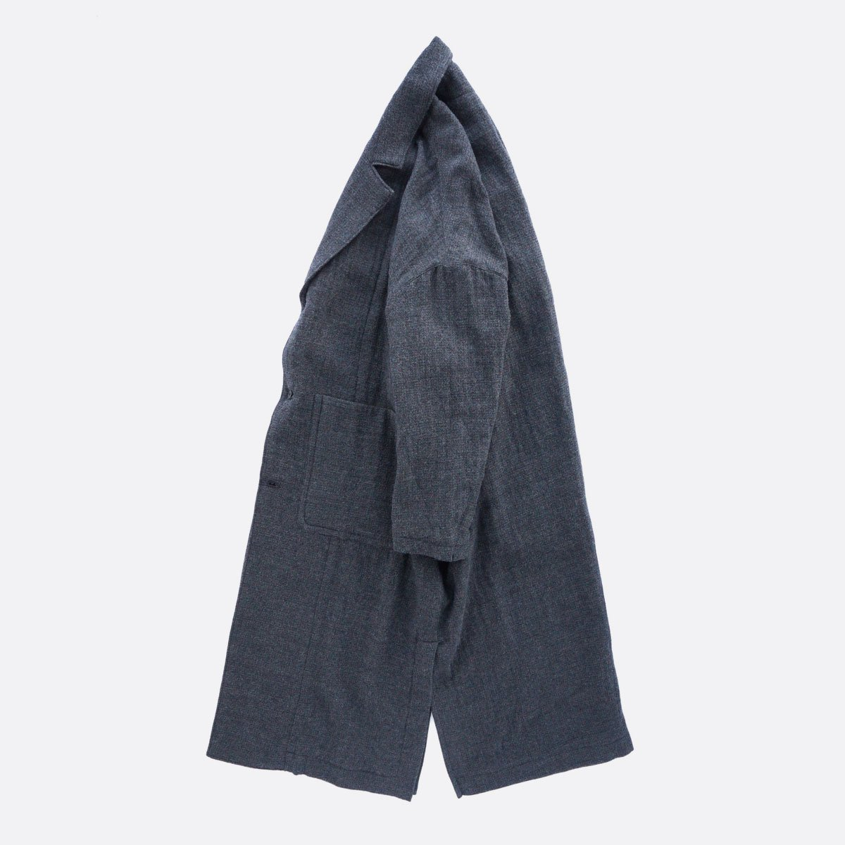 FIRMUM WORSTED WOOL & COTTON DOBBY DOUBLE CLOTH COAT (GREY&BLACK)3
