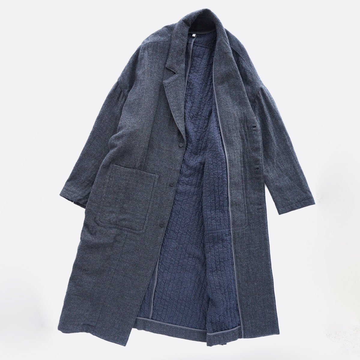 FIRMUM WORSTED WOOL & COTTON DOBBY DOUBLE CLOTH COAT (GREY&BLACK)4