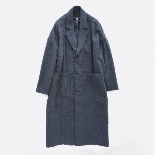WORSTED WOOL & COTTON DOBBY DOUBLE CLOTH COAT