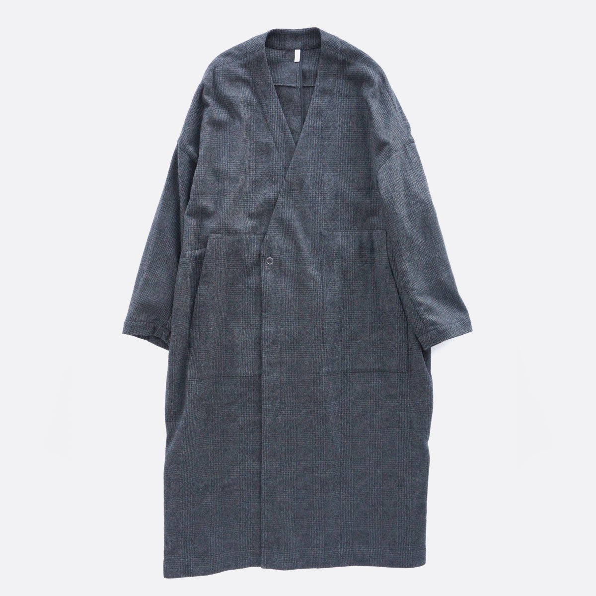FIRMUM MILLING WOOL & COTTON TWILL COAT (GREY&BLACK/CH)