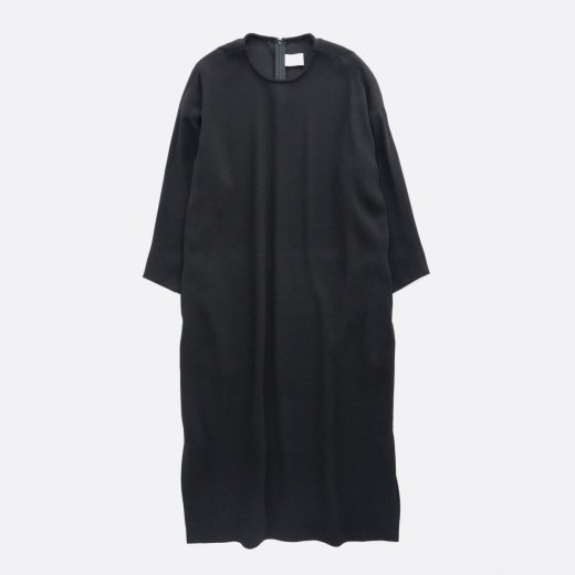 ACETATE POLYESTER DOUBLE CLOTH CREW NECK ONE PIECE