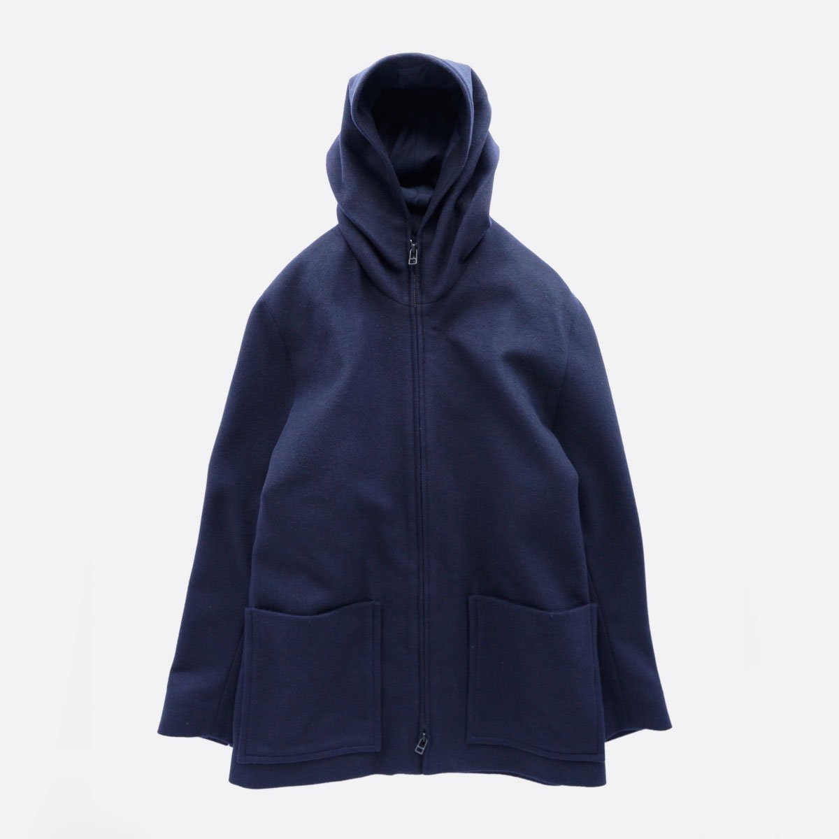 FIRMUM SUPER 100S WOOL LODEN LIKE CLOTH HOOD JACKET (NAVY)