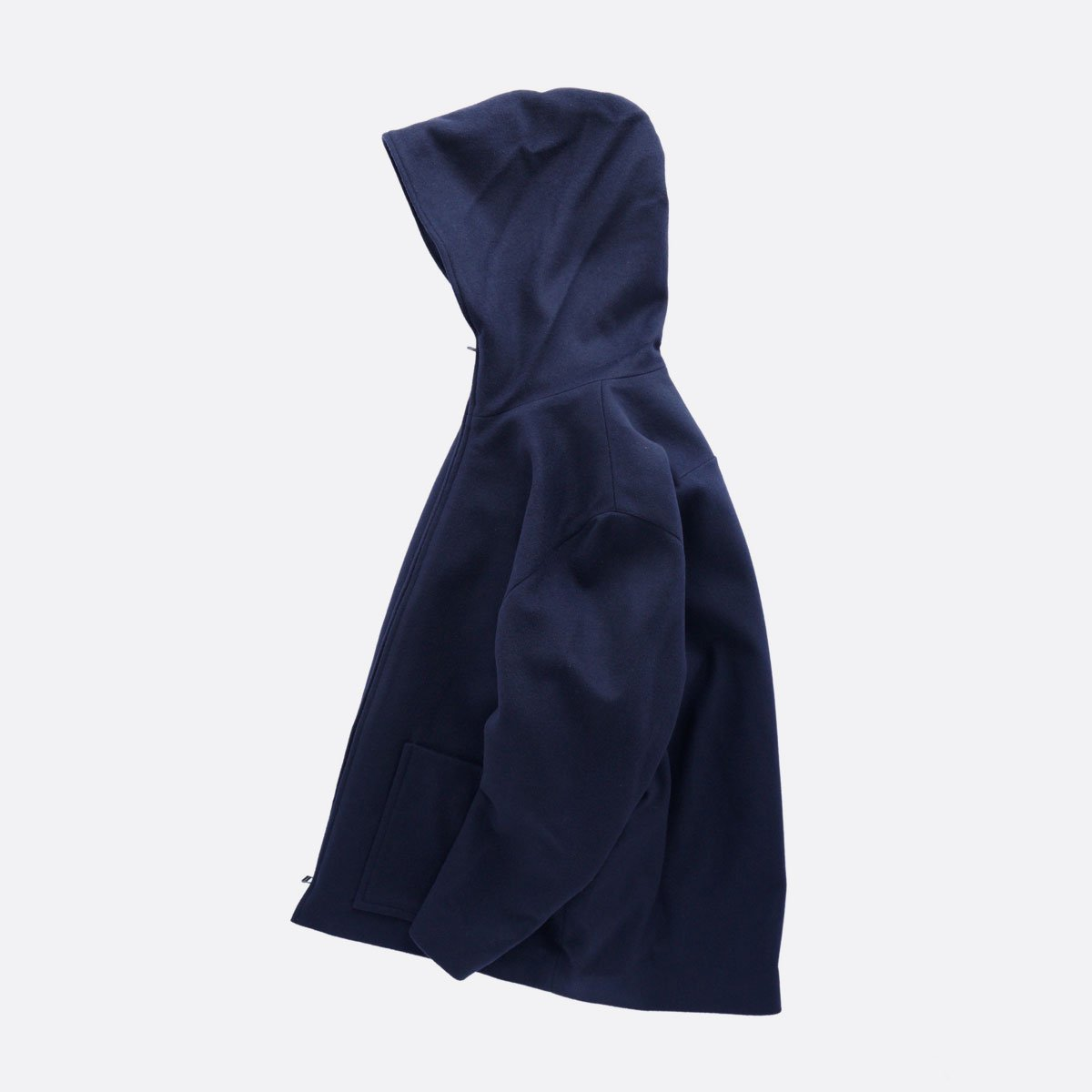 FIRMUM SUPER 100S WOOL LODEN LIKE CLOTH HOOD JACKET (NAVY)4