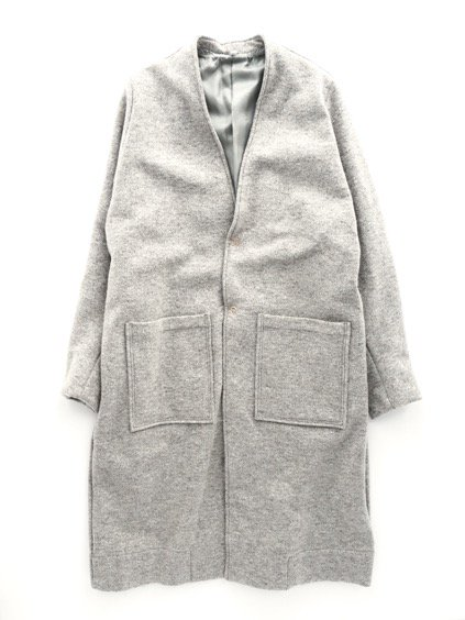 FIRMUM WORSTED WOOL BOUCLE MILLING INRAY STITCH KNIT COAT (LIGHT GREY TOP)