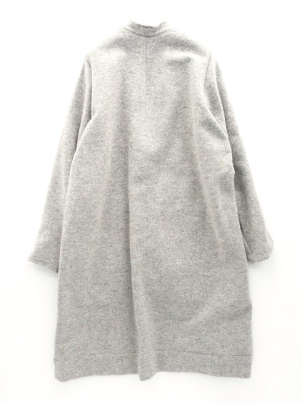 FIRMUM WORSTED WOOL BOUCLE MILLING INRAY STITCH KNIT COAT (LIGHT GREY TOP)4