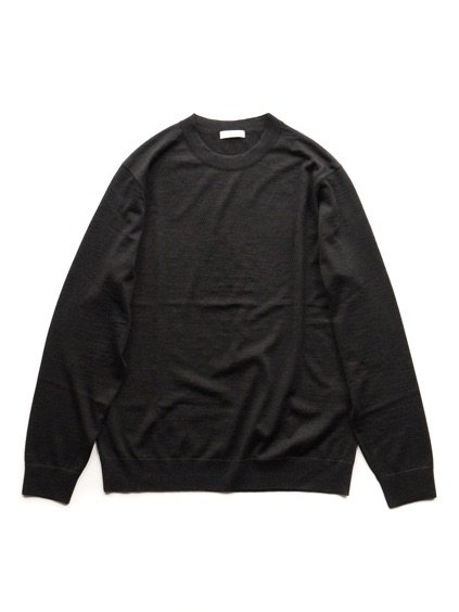 niuhans  Fine Gauge Wool Elbow Patch Sweater (Charcoal Grey)