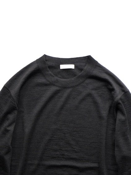 niuhans  Fine Gauge Wool Elbow Patch Sweater (Charcoal Grey)2