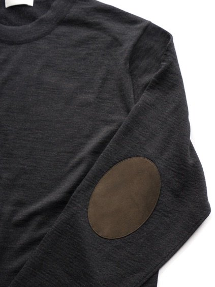 niuhans  Fine Gauge Wool Elbow Patch Sweater (Charcoal Grey)3