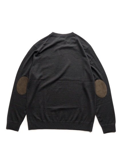niuhans  Fine Gauge Wool Elbow Patch Sweater (Charcoal Grey)4