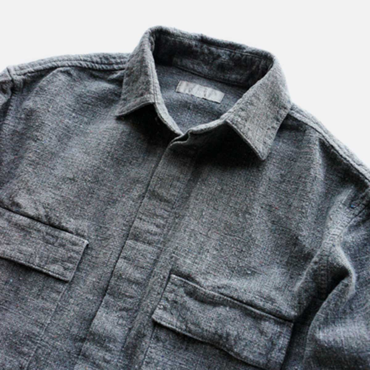 COLINA French Work Shirts  Handspun Cotton Tweed (Usuzumi)3