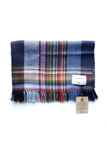 THE INOUE BROTHERS…  Woven Handloom Multi Coloured Scarf (Navy)
