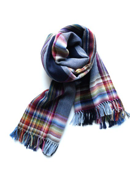 THE INOUE BROTHERS…  Woven Handloom Multi Coloured Scarf (Navy)2