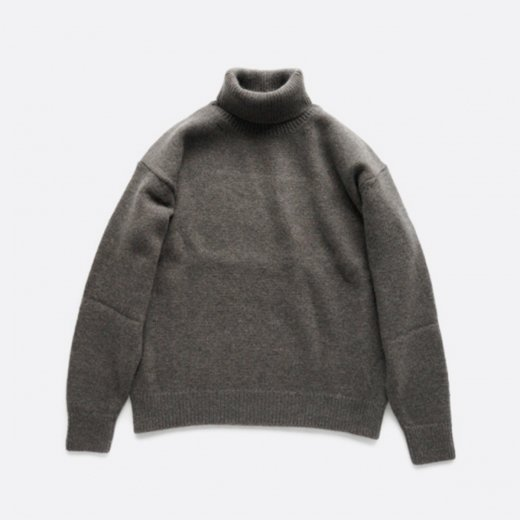 SILK MOHAIR WOOL KNIT TURTLE-NECK P/O