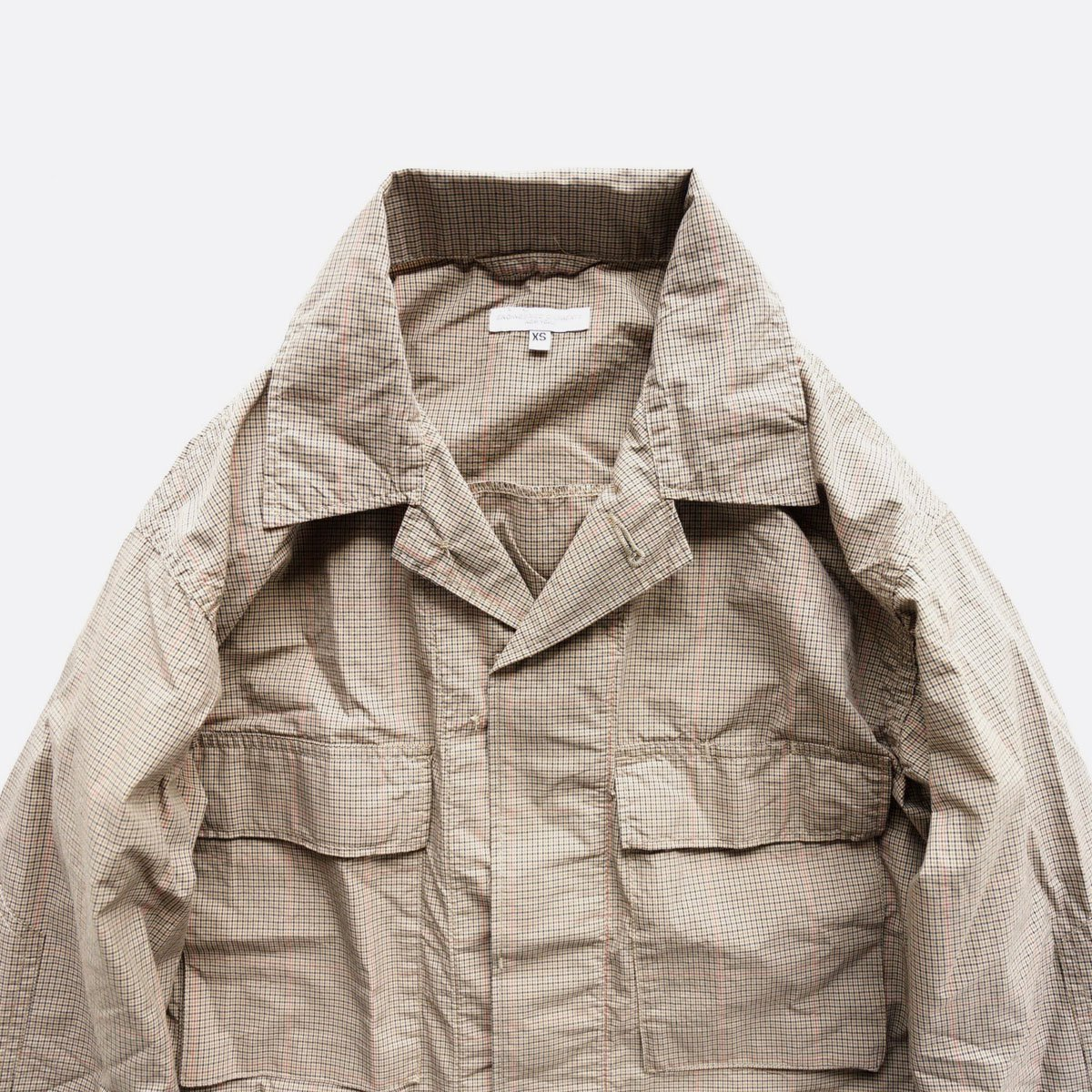 Engineered Garments  BDU JACKET - Nyco Mini Tattersall (Khaki)3