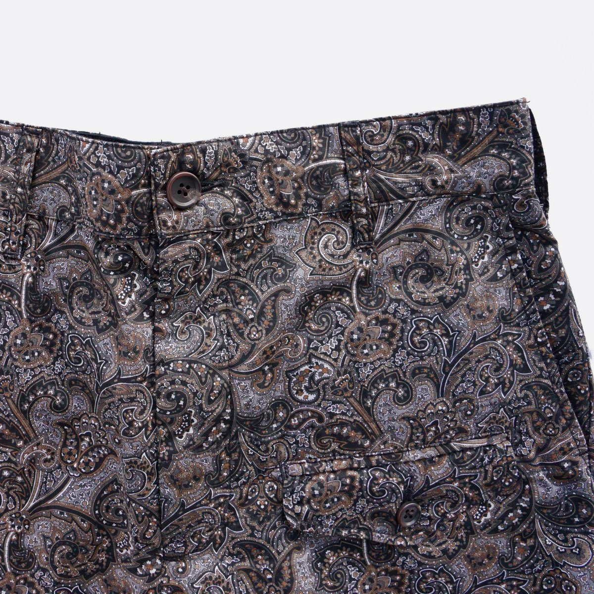 Engineered Garments  Ghurka Short - Paisley Print  (Black/Brown)4