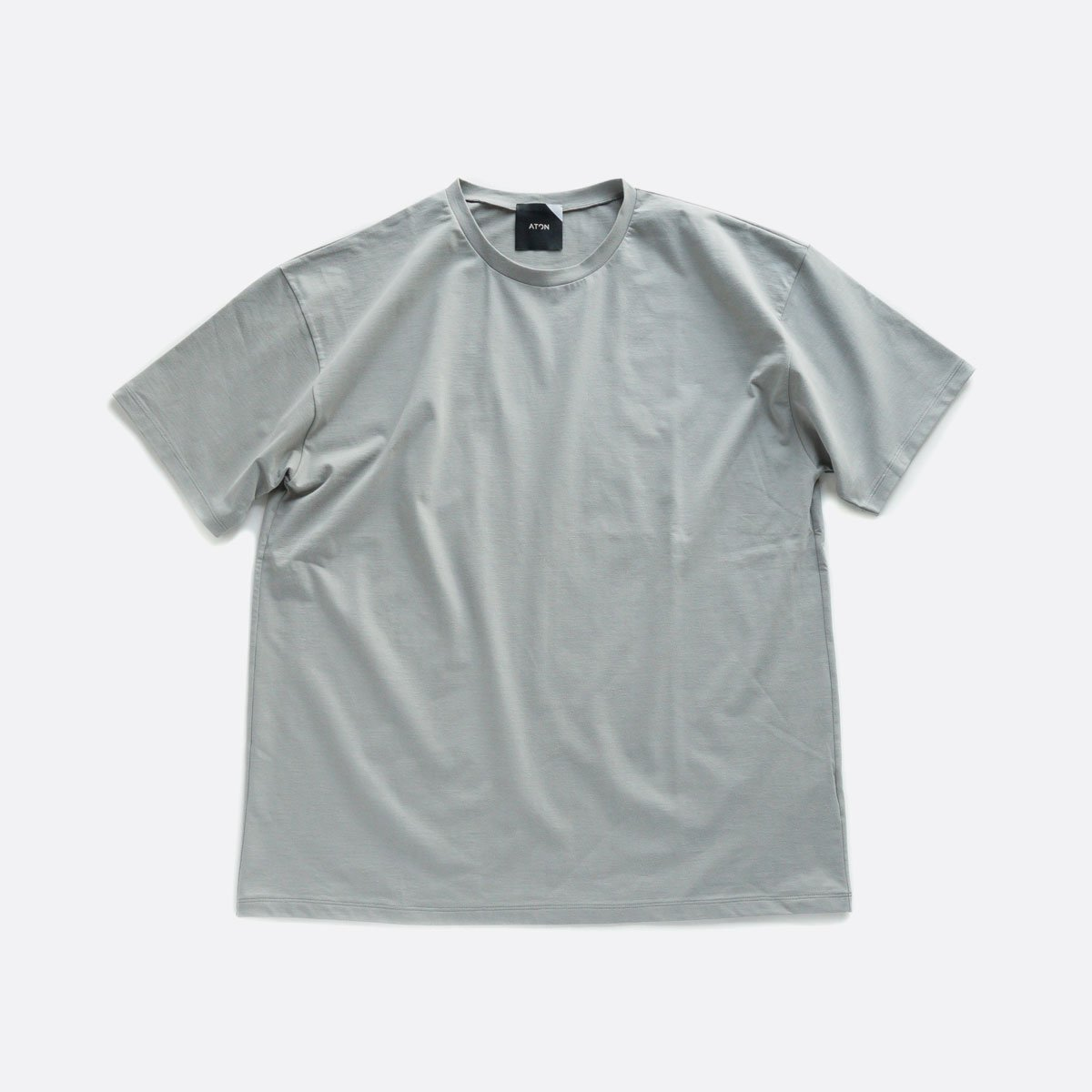 ATON NUBACK COTTON OVERSIZED T-SHIRT (LIGHT GRAY)
