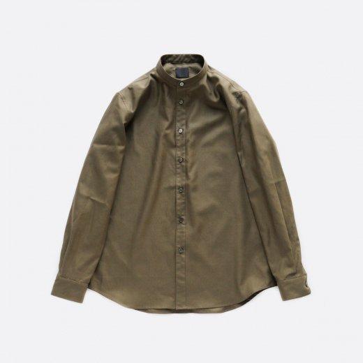 超高密度バックサテンシャツ スタンドカラー