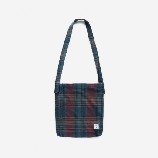 BOOK BAG - PLAID TWILL (NAVY/RED)