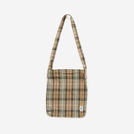 BOOK BAG - PLAID TWILL (KHAKI/BLACK)