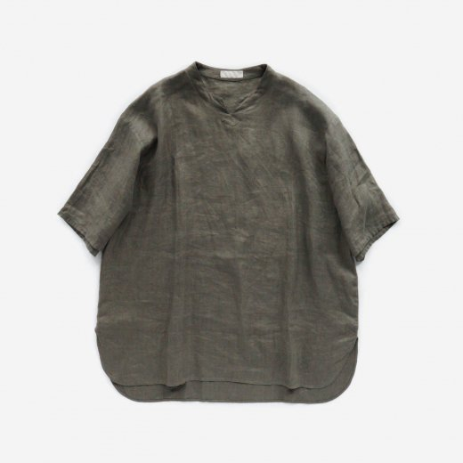 LINEN HERRINGBONE KEY-NECK P/O SHIRTS