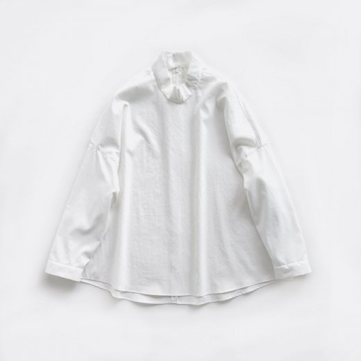 MATT POLYESTER TYPEWRITER WASH LIKE FINISHED STANDCOLLAR PULLOVER SHIRT