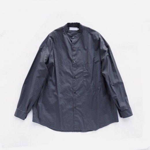 BROAD OVERSIZED L/S BAND COLLAR SHIRT
