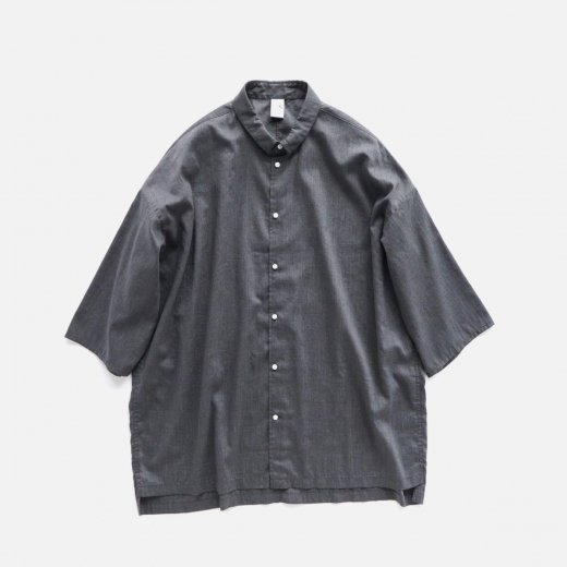 HIGH TWISTED POLYESTER & LINEN OVER SIZE SHIRT