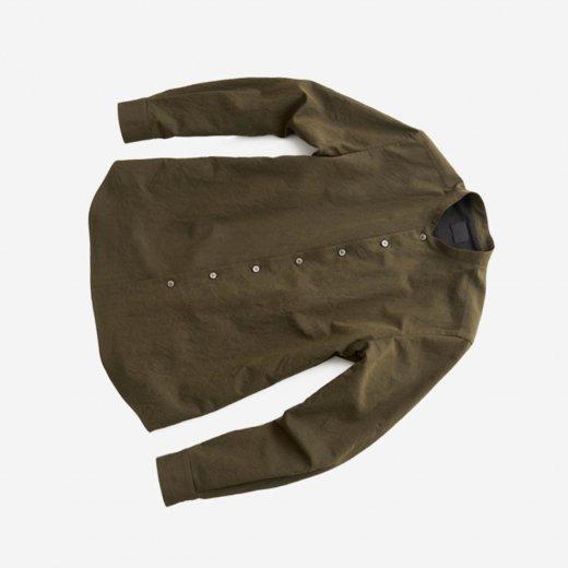 -21SS先行受注- 有松塩縮加工リネンシャツ「羽襟なし」
