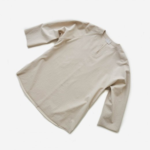-21SS先行受注- 50/- ネップフリーカット強撚ポンチ・8分丈Tシャツ