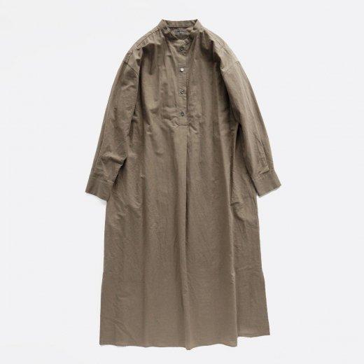 COTTON LINEN STAND COLLAR SHIRT  DRESS