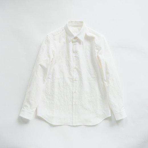 塩縮加工コットンリネンシャツ「羽襟付き」