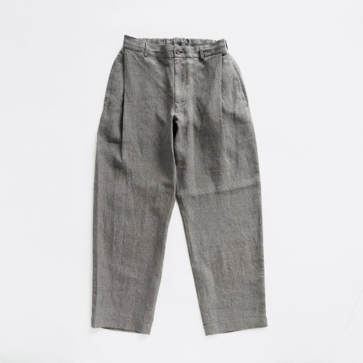 <img class='new_mark_img1' src='https://img.shop-pro.jp/img/new/icons1.gif' style='border:none;display:inline;margin:0px;padding:0px;width:auto;' />LINEN LABYRINTH CHECK SIDE TUCK PANTS