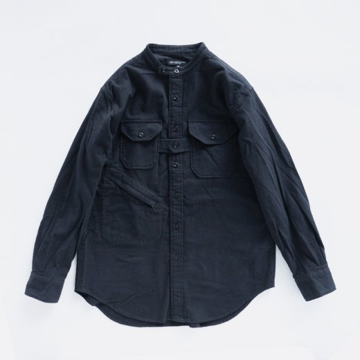 BANDED COLLAR SHIRT - SOLID COTTON FLANNEL